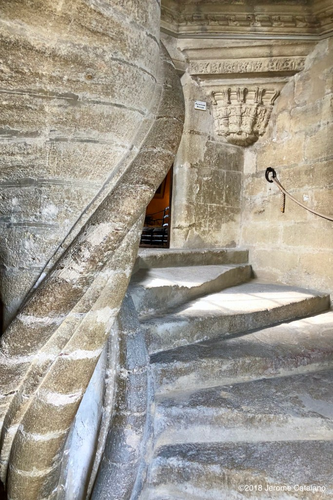 Stone staircase in the chateau at Lourmarin.
