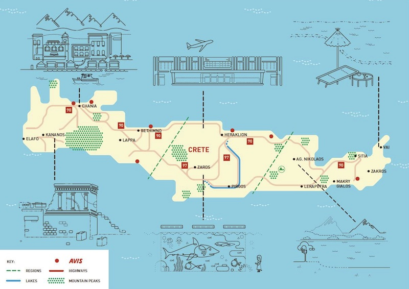 Crete map by Avis