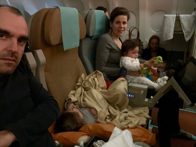 Travel airplane with toddlers