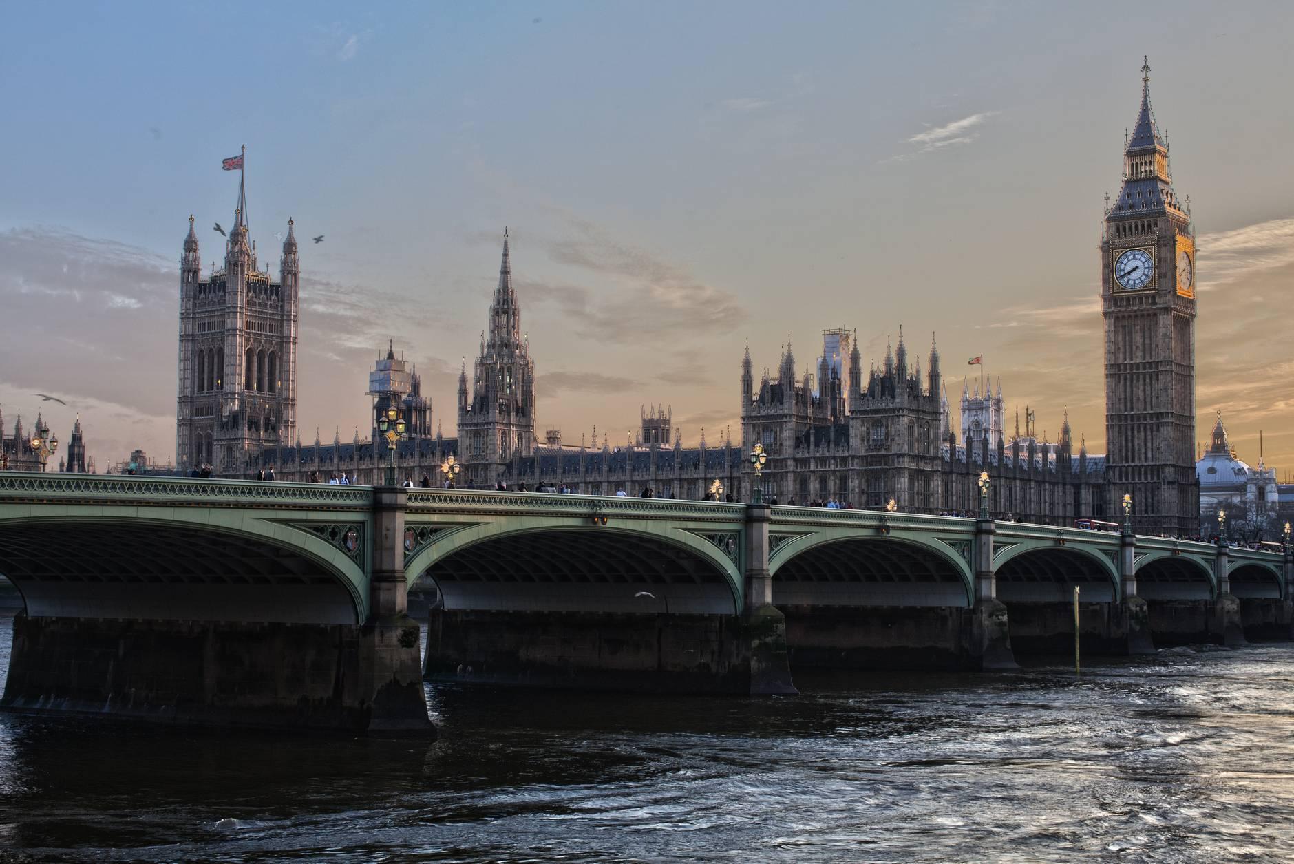bridge over river in city in London