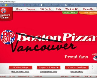 boston pizza changes to vancouver pizza