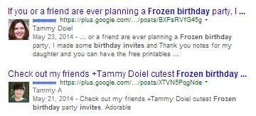 frozen Google+ search