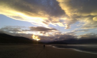 Planning for the future. Sunset over the beach at Brandon Bay Kerry