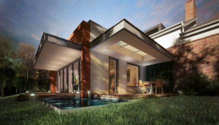 Milan villa with bifold doors seen from low level beside the pool.