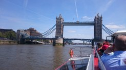 Tower Bridge from the river Thames.