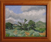 """Taos Mountains Rain Storm"" Robert Perez, Jr, oil on canvas over board"