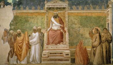 Giotto_di_Bondone_-_Scenes_from_the_Life_of_Saint_Francis_-_6._St_Francis_before_the_Sultan_(Trial_by_Fire)_-_WGA09313