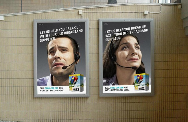 TELE2 the Swedish mobile operator breakup outdoor campaign