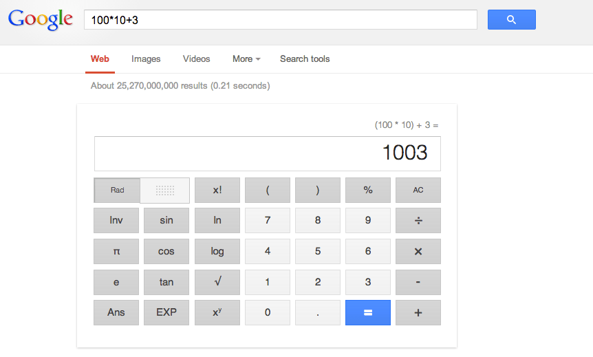 Type a calculation directly into google