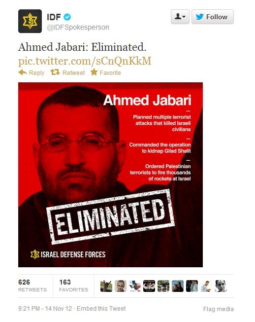 IDF tweet: Ahmed Jabari: Eliminated.