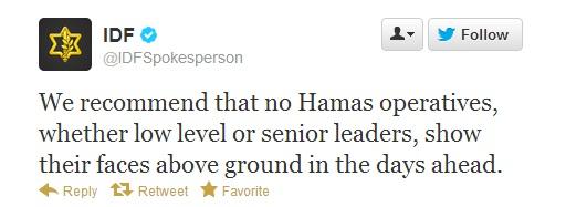 IDF Threat tweet