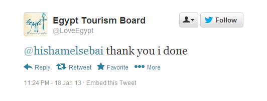 Tweets of Egypt Tourism Board