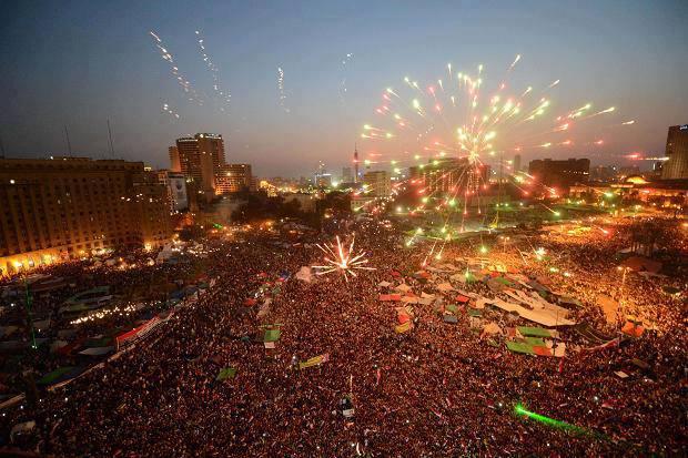 Millions of Egyptians celebrating in Tahrir Square ousting President Morsi