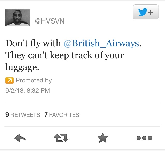Hasan Syed spent 1000 $ for promoted tweet used to complain about British Airways