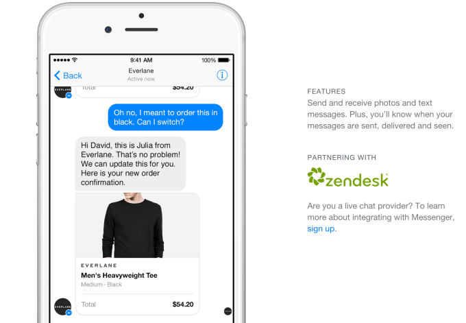 Customer support will be permitted over Messenger thanks to an integration with ZenDesk