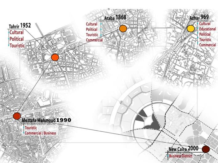 Map of past City Centre projects. Credit: Ahmed Zaazaa