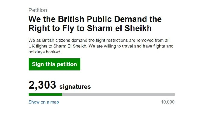 British Public Demand the Right to Fly to Sharm el Sheikh