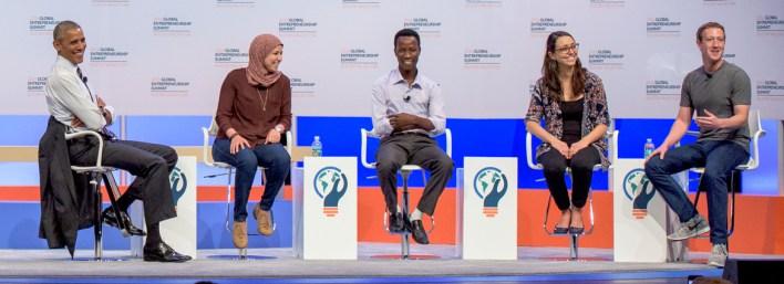 Mai Medhat-President Obama-Mark Zuckerberg-global innovation at summit at Stanford