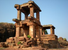 The two-storied Temple now in ruined state. The 'Mandapas' have Elephant torsos and date back to the Early Chalukyan Reign.