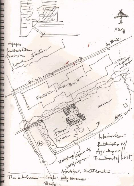 """While I walk around the site, I observe the nature of the context"" - LLDC, 2015 (drawn by Uday Andhare)"