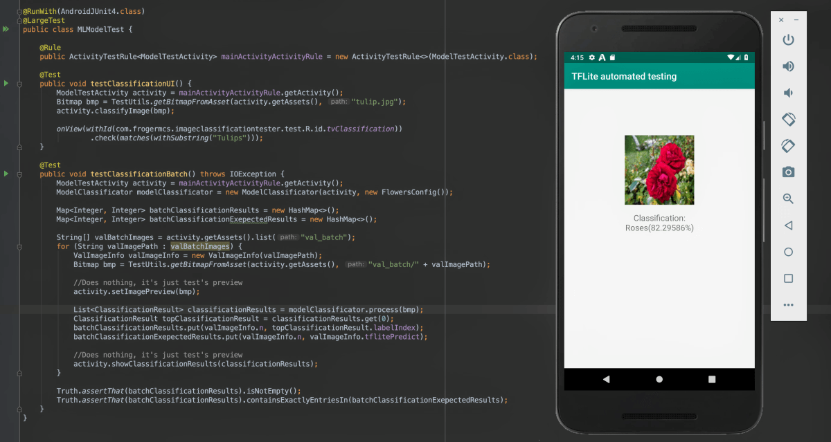 Testing TensorFlow Lite model with Espresso and instrumentation tests on Android