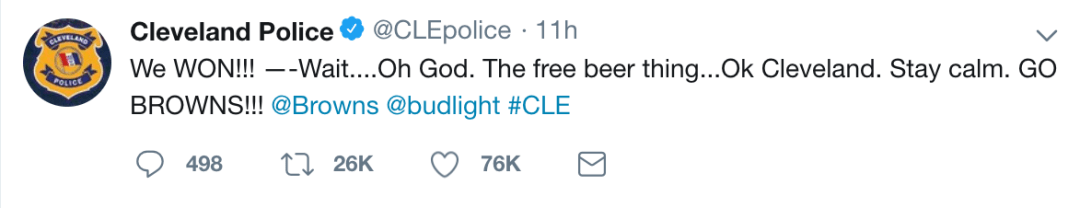 Cleveland Police Bud Light Tweet