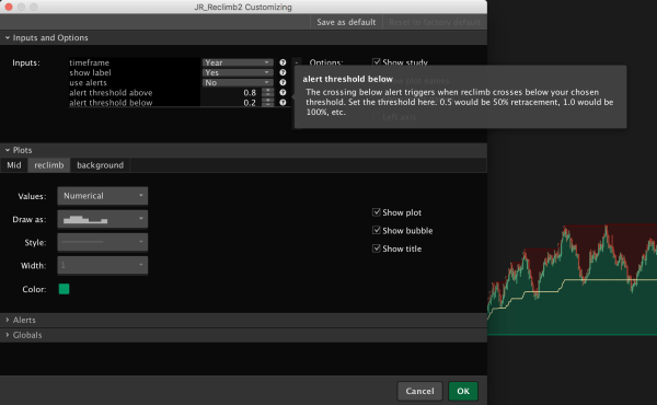 Reclimb & Pullback Indicator for ThinkOrSwim - Tooltips to explain each setting