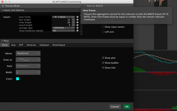 multiple time frame MACD indicator for thinkorswim - settings