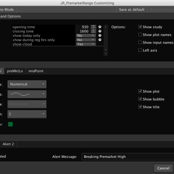 premarket high low indicator settings 1