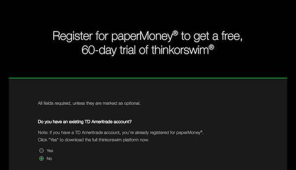 Sign up for a Thinkorswim PaperMoney free trial