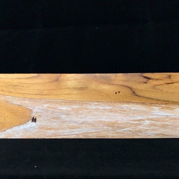 """""""Walk at the Beach"""", wooden painting with pyrography art"""