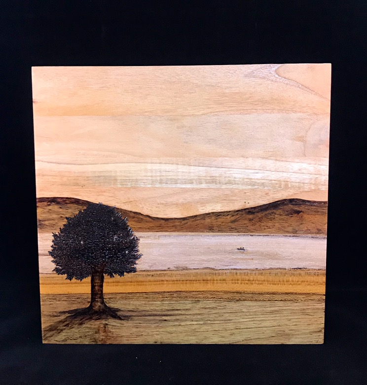Tree at Mountain Lake, wooden painting with pyrography art