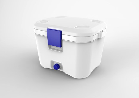 Considering the target audience, the final design was given a more familiar form (an American 'cooler' or ice box). Improvements included: the largest possible opening for refilling; a water drainage spout, and removable EPS insulation. All held together with standard fasteners.