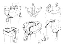 A few rough ideation sketches, from an initial client meeting. All the obvious methods of integrating a protective cover into the product had been heavily patented by competitors - there were tight constraints on technical execution.