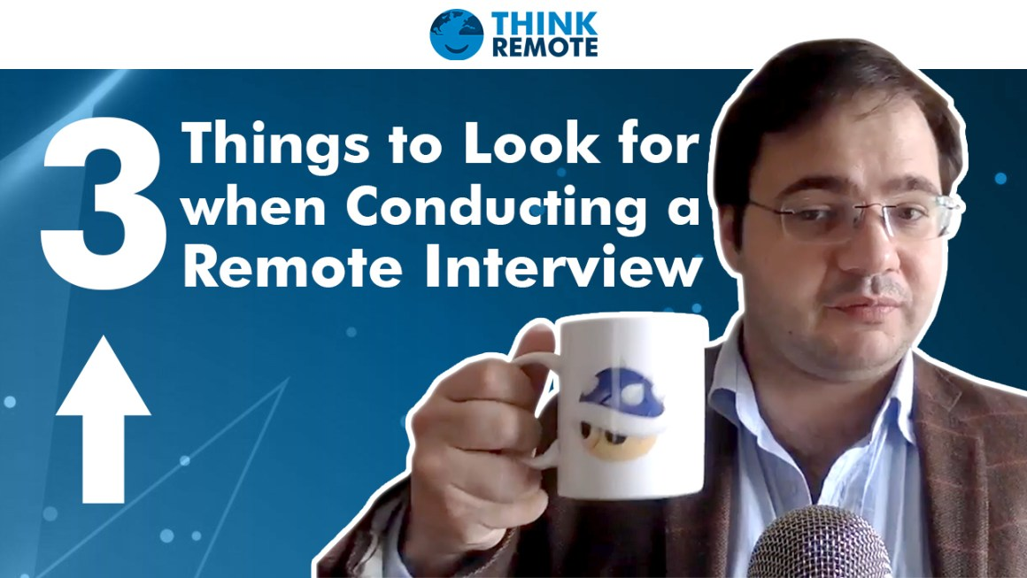 Luis talks about conducting a remote interview while having coffee