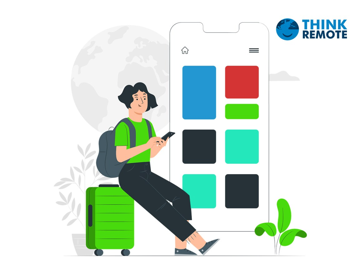 a girl scrolling through the best digital nomad apps