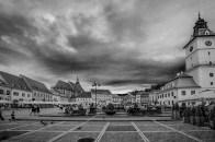 B&W dark sky over townhall, brasov