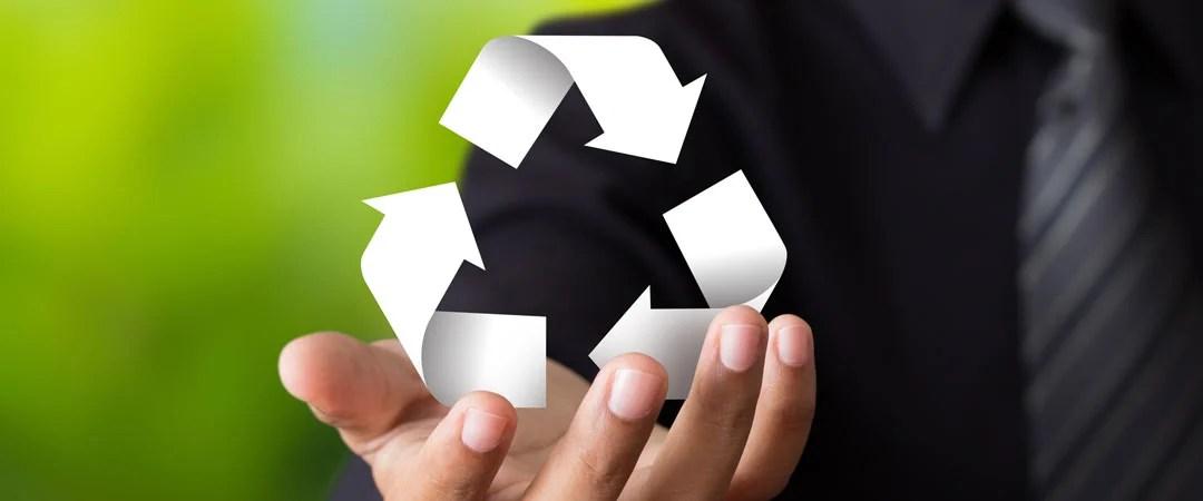 Man holding recycle logo