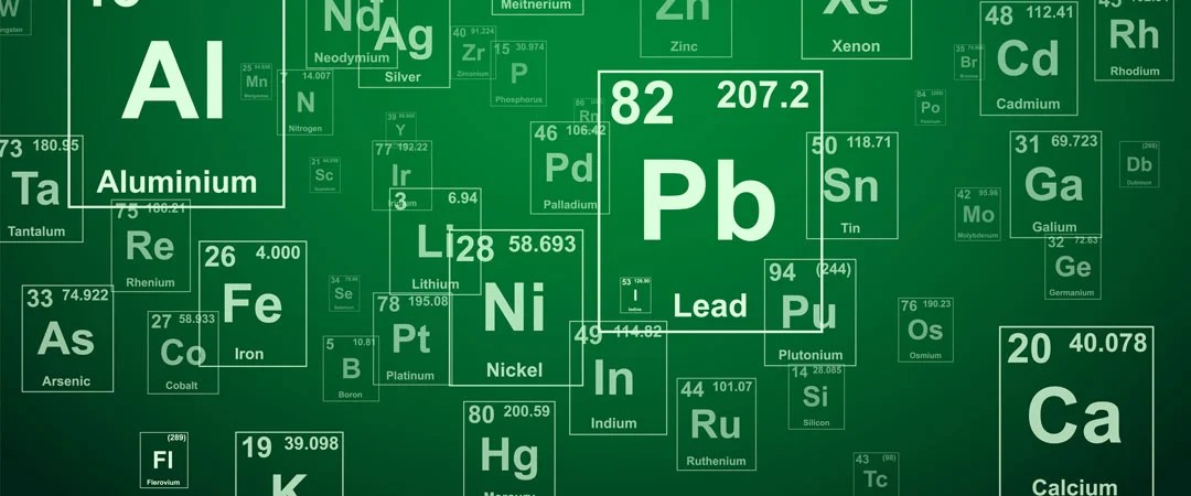 Elements on green background