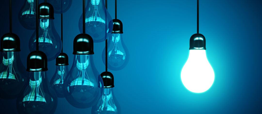 Light bulbs on a blue backgound