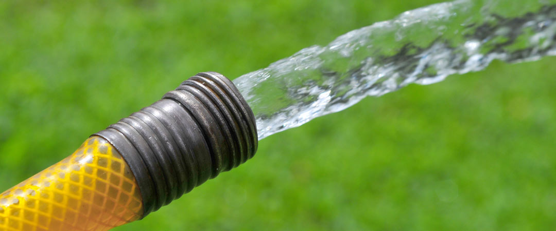 Hose flushing water onto lawn