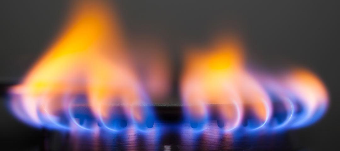 Natural gas flame on burner