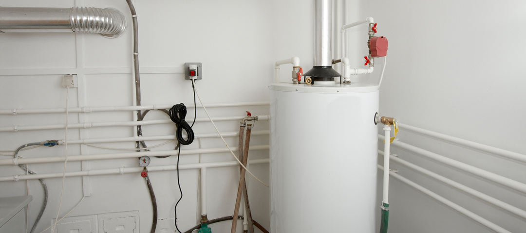 Gas water heater in a basement