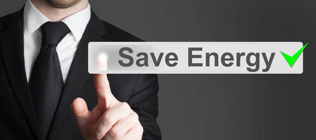 Man pointing to Save Energy