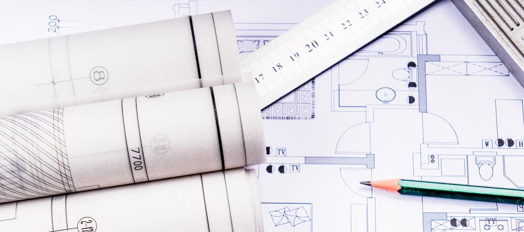 Blueprints, pencil and ruler