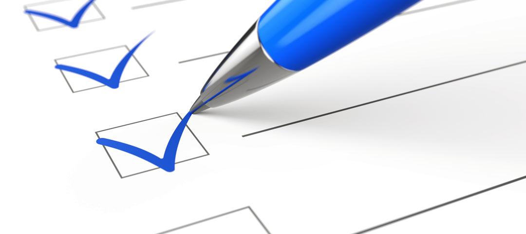 Checklist with blue pen