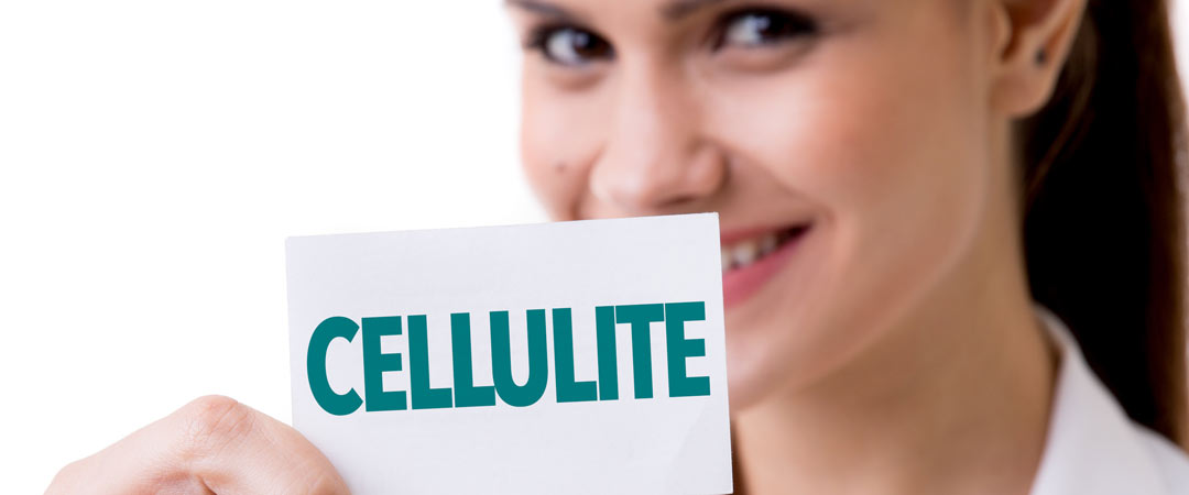 """Woman holding a """"cellulite"""" sign"""