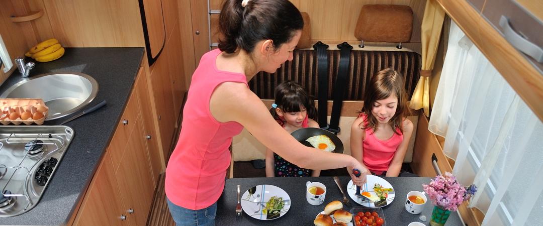 Family eating in RV