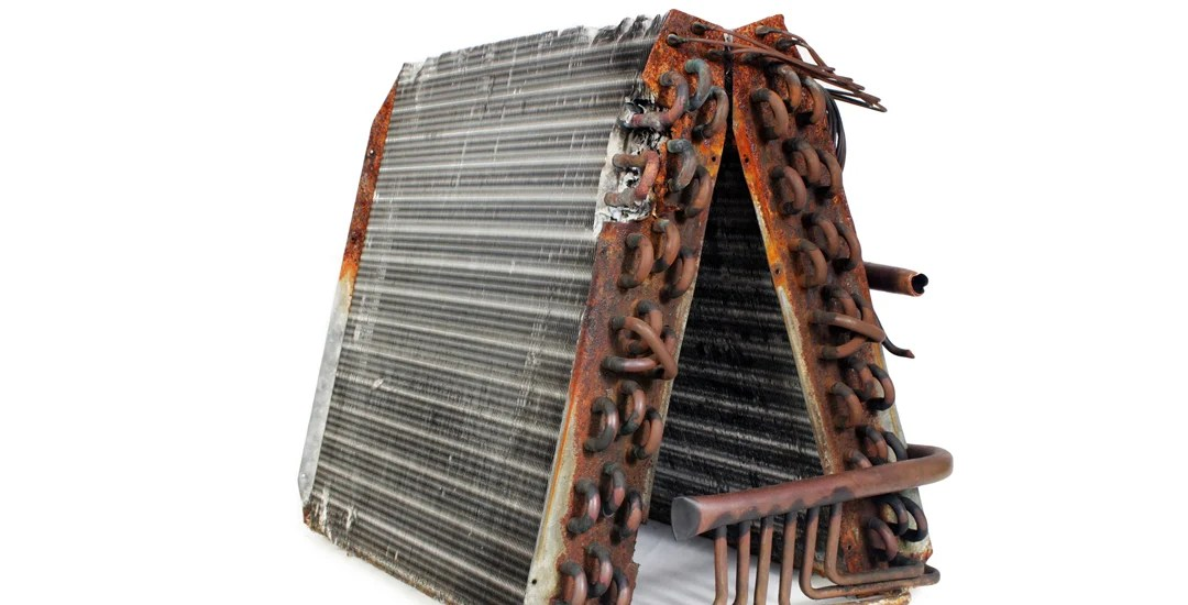 An old evaporator coil