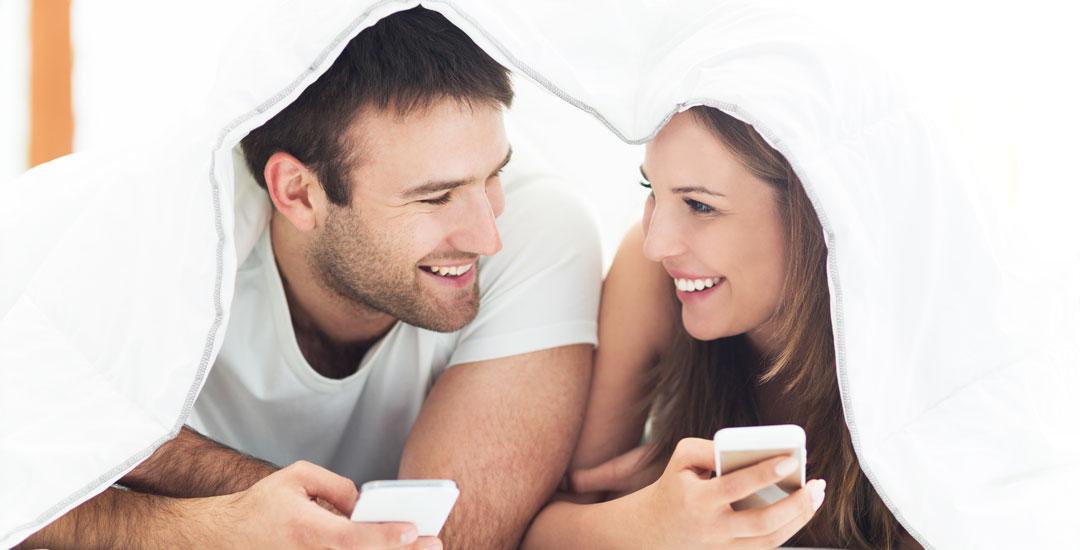 Couple under a duvet cover